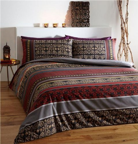 WINE RED FUSION INDIAN ETHNIC DESIGN FLORAL BEDDING DUVET QUILT COVER SET